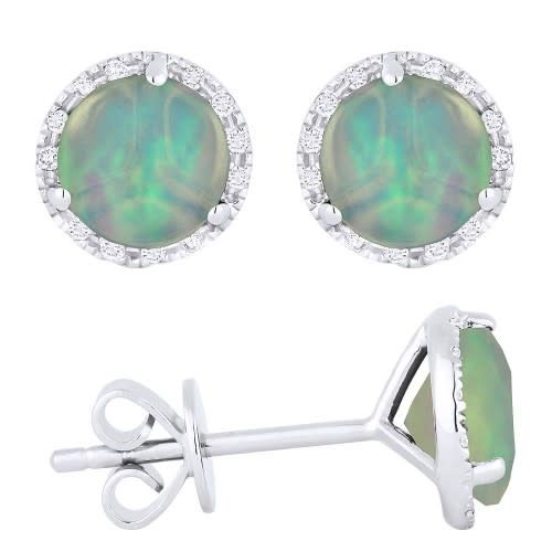 Madison L E1023OPW Opal & Diamond Halo Stud Earrings