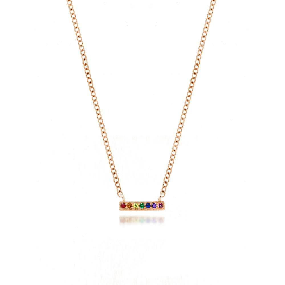 Rose Gold Rainbow Bar Necklace