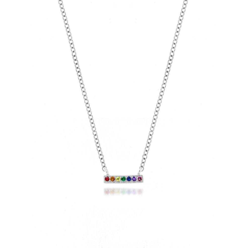 Meira T Rose Gold Rainbow Bar Necklace