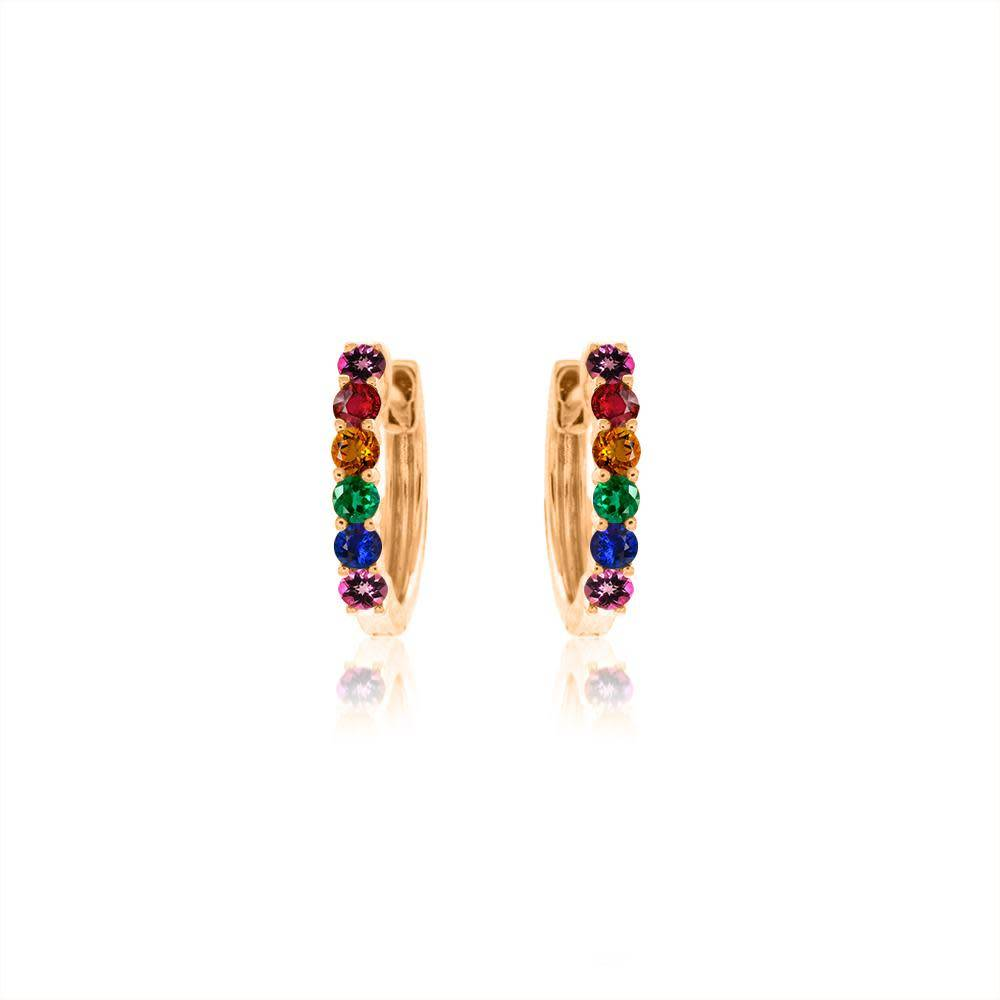 Meira T Gold Rainbow Huggie Earrings