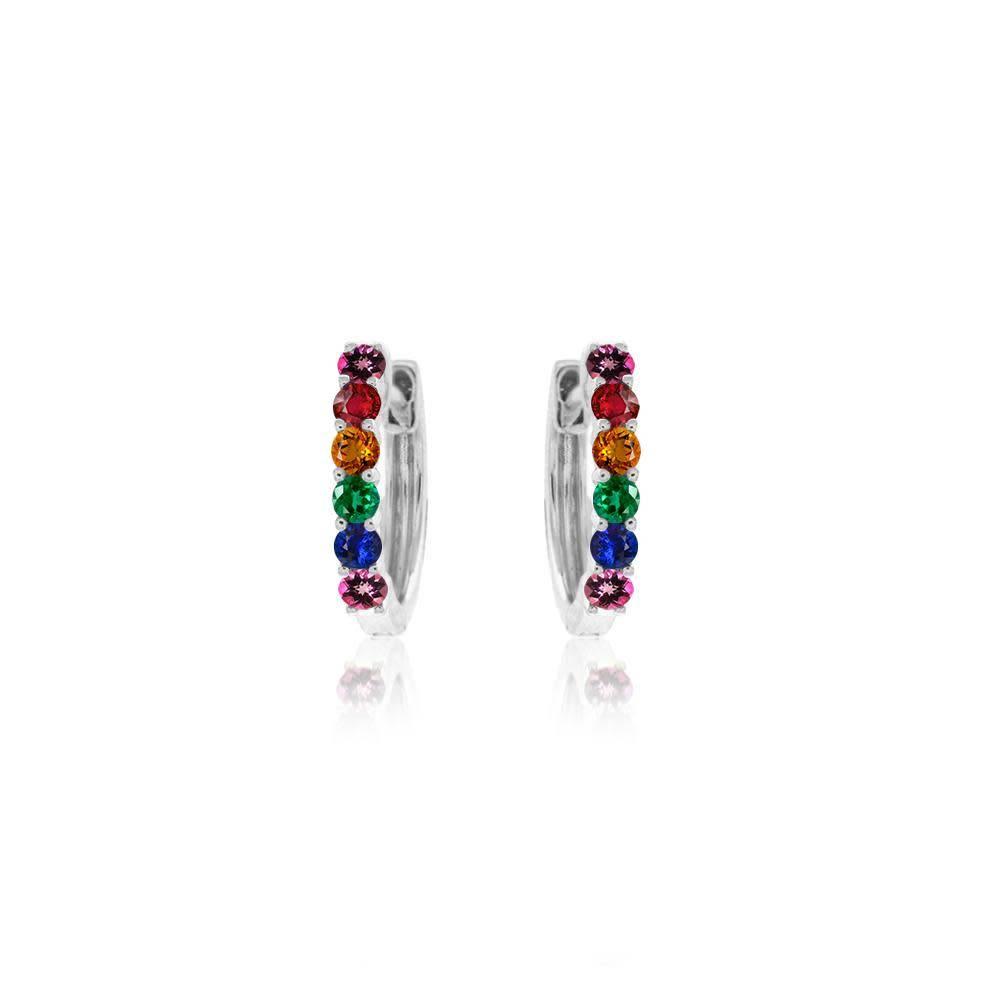 Meira T Gold Rainbow Huggie Earrings