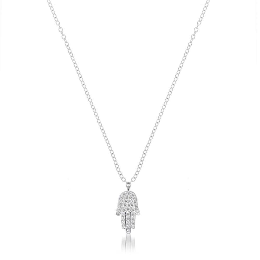 Meira T Pave Diamond Hamsa Hand Necklace