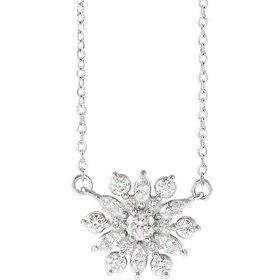 86948 Vintage Style  1/2 Carat Diamond Pendant Necklace