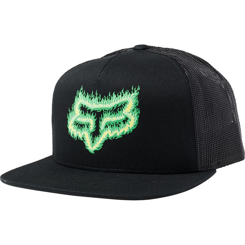 Fox Head Flame Head Snapback Hat