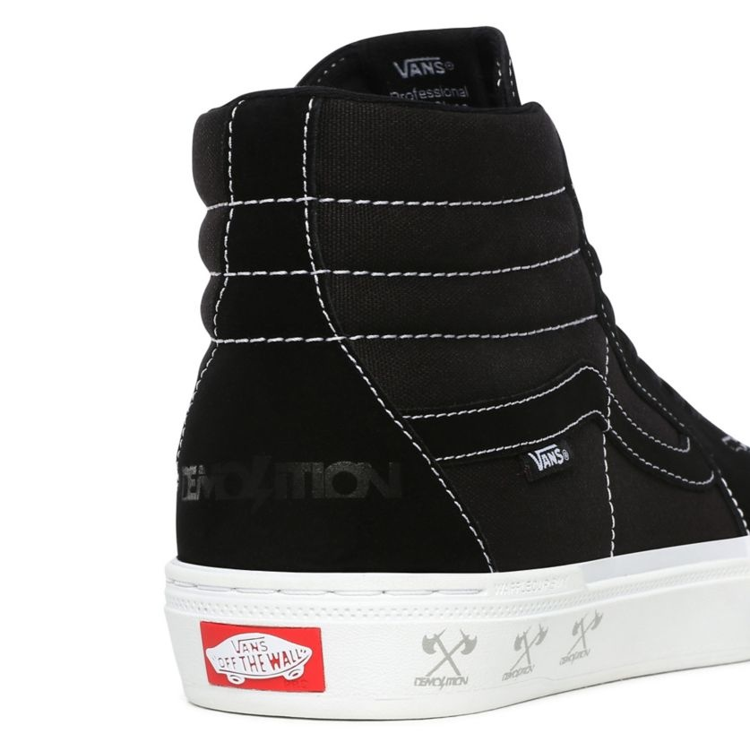 Vans SK8 Hi Pro BMX Shoe - (Demolition) Black/White
