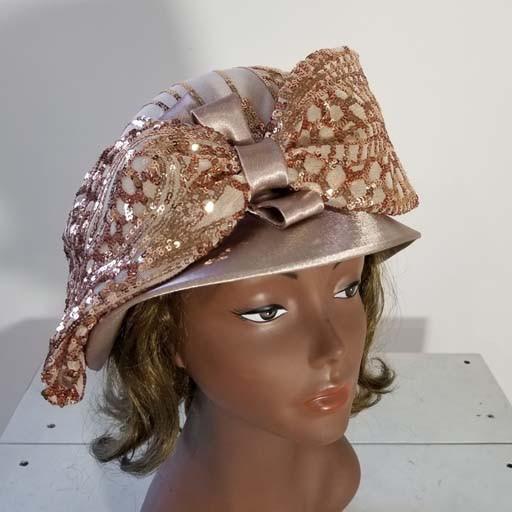 7975317723474 Satin Pil Box Hat w Sequiens Bow - Fashion Tree