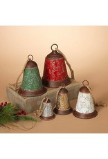 Metal Holiday Bells w/ Jute Hanger--Set/5