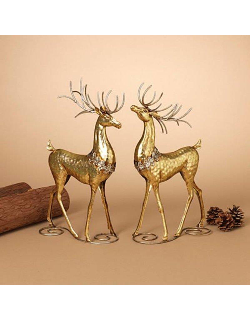 """16""""H Gold Metal Deer Figurine, 2 Asst--choice of one"""