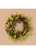 """24""""H Natural Twig Burgundy and Red Berry Wreath"""