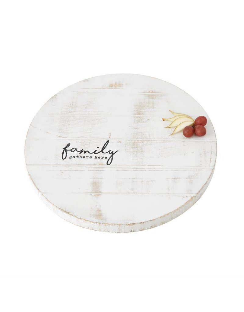 Family Distressed Wood Lazy Susan