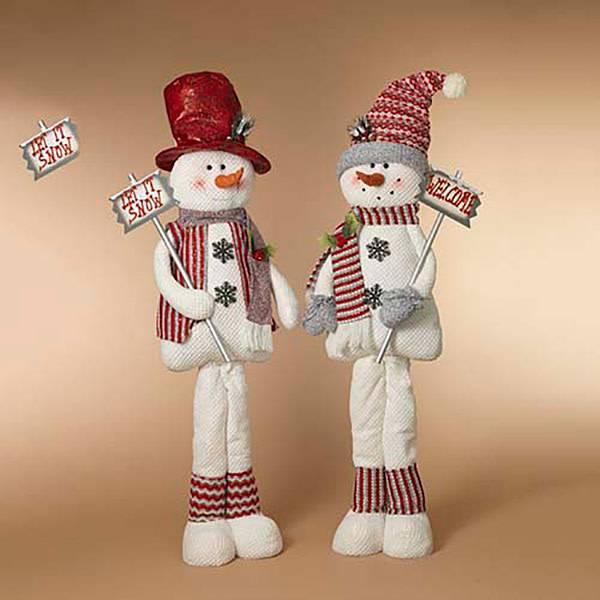 "58""H Plush Holiday Snowman Figurine, 2 Asst-choice of one"