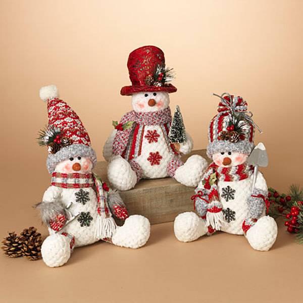 "10""H Plush Sitting Snowman Figurine, 3 Asst-choice of one"