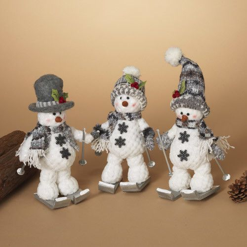 """12""""H Plush Holiday Skiing Snowman, 3 Assorted-choice of one"""