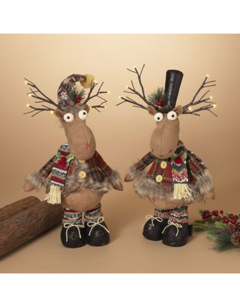 """18""""H B/O Lighted Plush Holiday Moose, 2 Assorted--choice of one"""