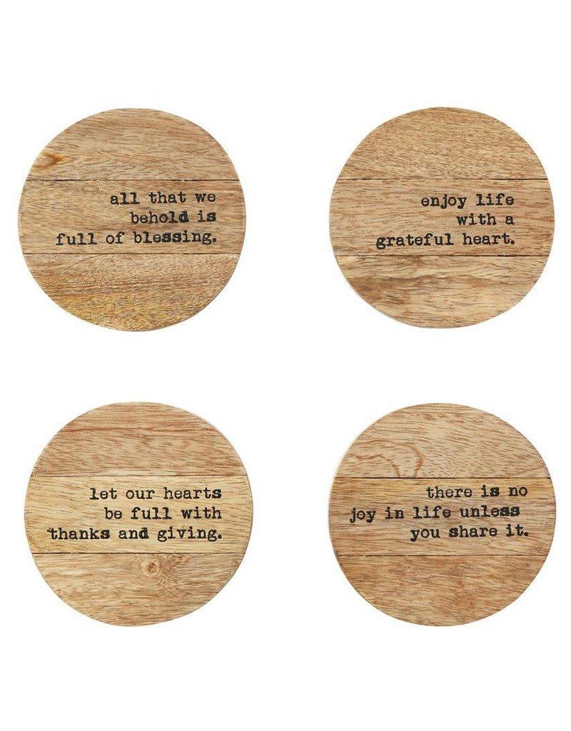 Thankful Wood Coaster Set