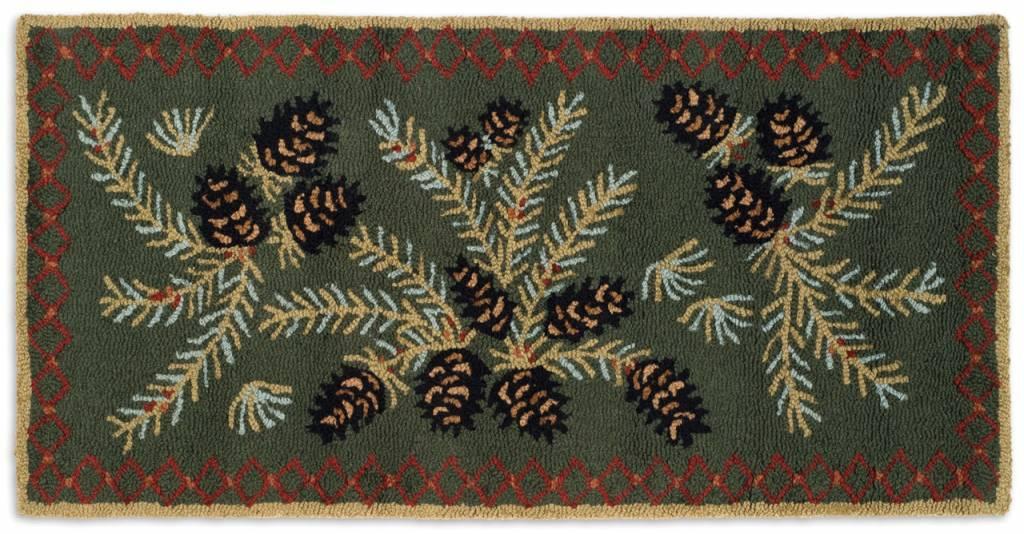 Diamond Pinecone 2'x4' Hooked Wool Rug