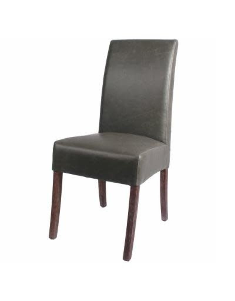 Valencia Bonded Leather Chair Drift Wood Legs, Vintage Gray