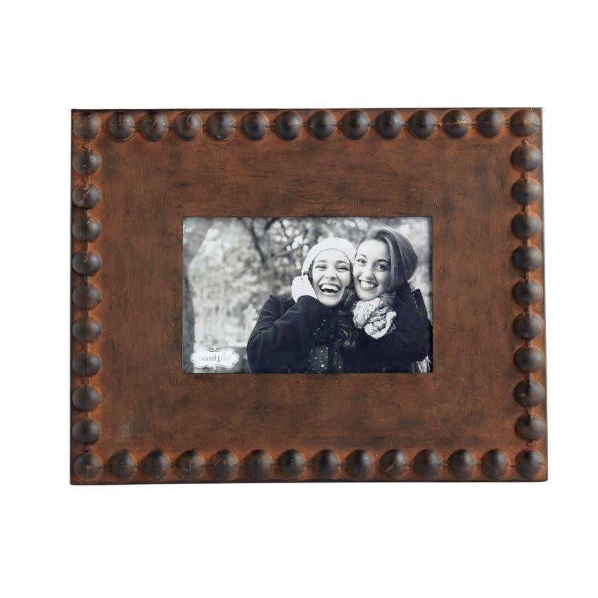 Rustic Nailhead Tin Picture Frame 4x6