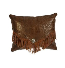 """Pillow-16x20"""" Fabric Back with Rustic Gator Leather"""