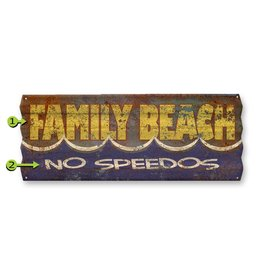 Corrugated Metal  Family Beach  No Speedos  17x44