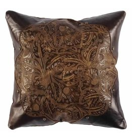 Leather Pillow, 16x16 with Fabric Back, Cosmo Leaather, Stallion Coffee Leather, Chocolate Suede Studs - Brass Dome-Small