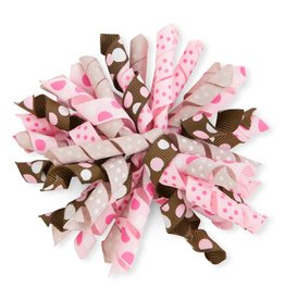 3 Inch x 4.7 Inch Light Pink/Brown Curly Ribbon with Hair Clip