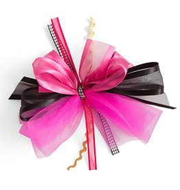 5 Inch x 5 Inch Fuschia and Black Ribbon with Hair Clip