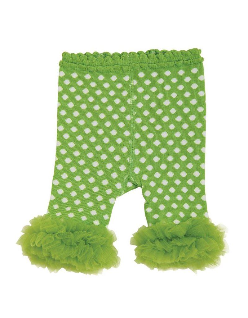 517340d6662a7 Toddler Girl Legging with Chiffon Ankle Ruffles 12-18 Month Lime Green/White  Polka Dot - Beckman's