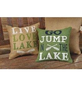 "Lake Burlap Pillows- ""Live Love Lake"""