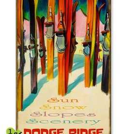 """Colorful Skis """"Sun Snow Slopes Scenery"""" 23x39 Wood"""