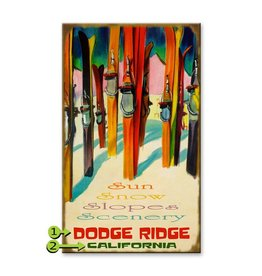 "Colorful Skis ""Sun Snow Slopes Scenery"" 23x39 Wood"