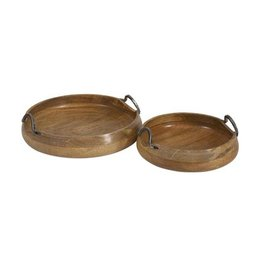 Vallari Round Wood Trays- Set of 2