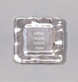"A LITTLE SOMETHING square engraved tray (""CAFFEINE, CARPOOL, COCKTAILS, REPEAT"")"