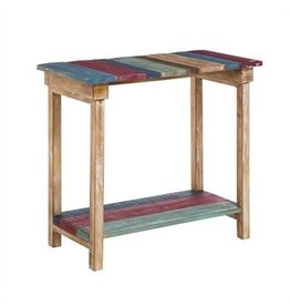 Mulit Colored Wood Plank Hall/Sofa Table with Shelf