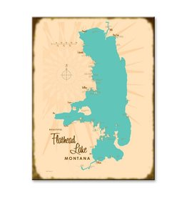 Flathead Lake Map 23x31 Custom Wood Sign