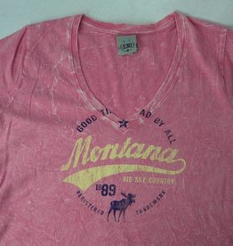 "Junior V-Neck ""Montana Big Sky Country"" Pink- Small"