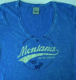 "Junior V-Neck ""Montana Big Sky Country"" Blue- XLarge"
