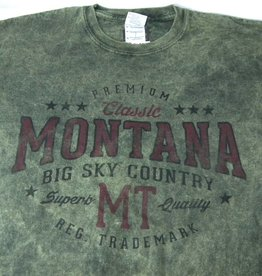 "Men's Acid Wash ""Montana Big Sky Country"" Olive- Medium"