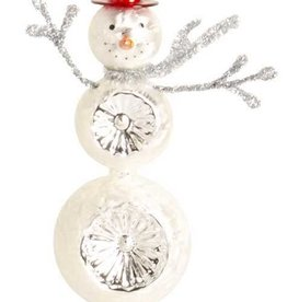 13 Inch Glass Snowman with Red Hat Table Top Each