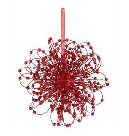 12 Inch Red Glitter Gyro Beaded Ornament
