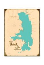 Flathead Lake Map 17x23 Custom Wood Sign