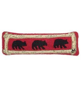 """Birch Bears 8""""x24"""" Hooked Pillow"""