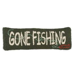 """Gone Fishing  8""""x24"""" Hooked Pillow"""
