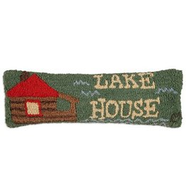 "Lake House  8""x24"" Hooked Pillow"