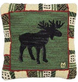 "Argyle Spruce Moose 18""x18"" Hooked Pillow"