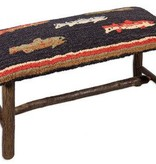 """River Fish 15""""x32""""17"""" Hooked Top Wooden Bench"""