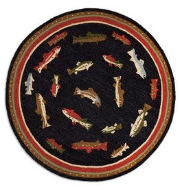 River Fish 5' Round Hooked Rug
