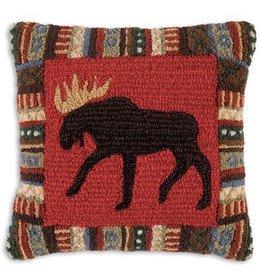"Cinnamon Moose 18""x18"" Hooked Pillow"