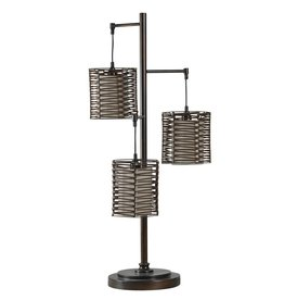 Metal and Rattan Contemporary Table Lamp in Bronze Finish