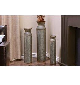 Rustic Metal Cylinder Design Floor Vases (LG Vase)